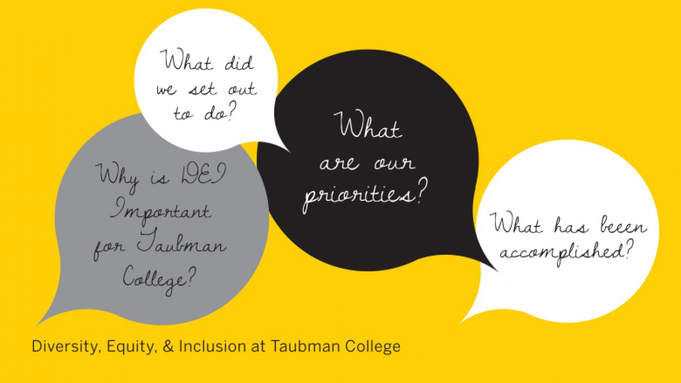 Why is DEI Important for Taubman College? What did we set out to do? What are our priorities? What has been accomplished? Diversity, Equity and Inclusion at Taubman College