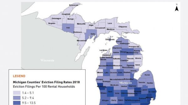 Eviction filing rates by Michigan county, 2018