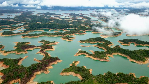 Aerial view of a series of islands